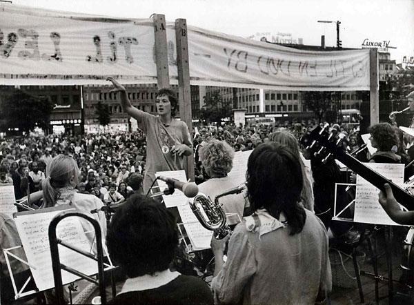 24timers demonstration på Rådhuspladsen 1980
